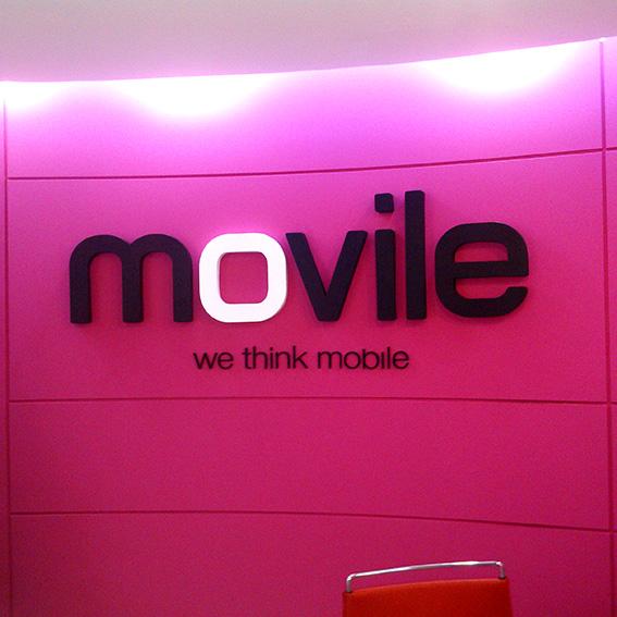 Movile | Campinas | Letra caixa fixada na sala da recepção